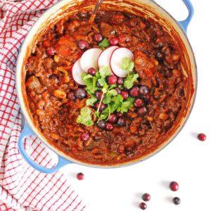 Cranberry chili in a blue pot