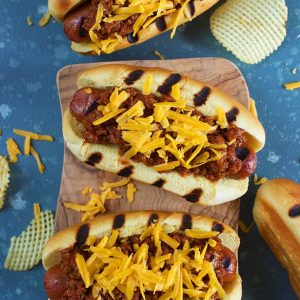 Hot dog chili on grilled hot dogs