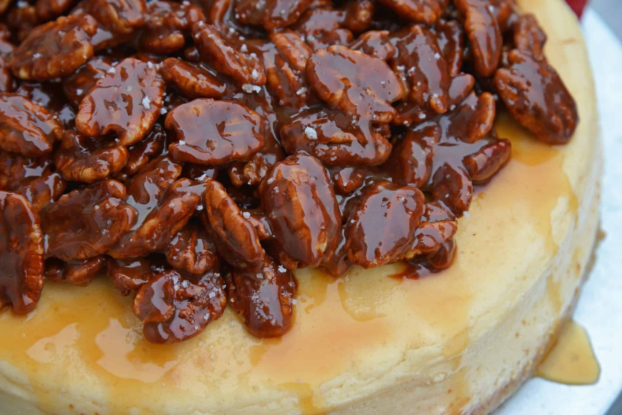 Close up of pecan pie cheesecake