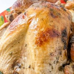 Juicy Roasted Turkey is easier than you think with my buttery recipe, a bottle of bubbles and fresh herbs.The best juicy turkey recipe ever! #juicyroastedturkey #bestturkeyrecipe #thanksgivingturkey www.savoryexperiments.com
