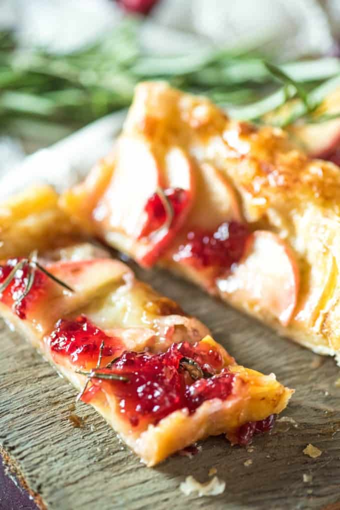 Brie puff pastry tart on a board