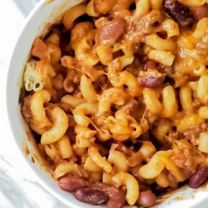Chili mac in a white bowl