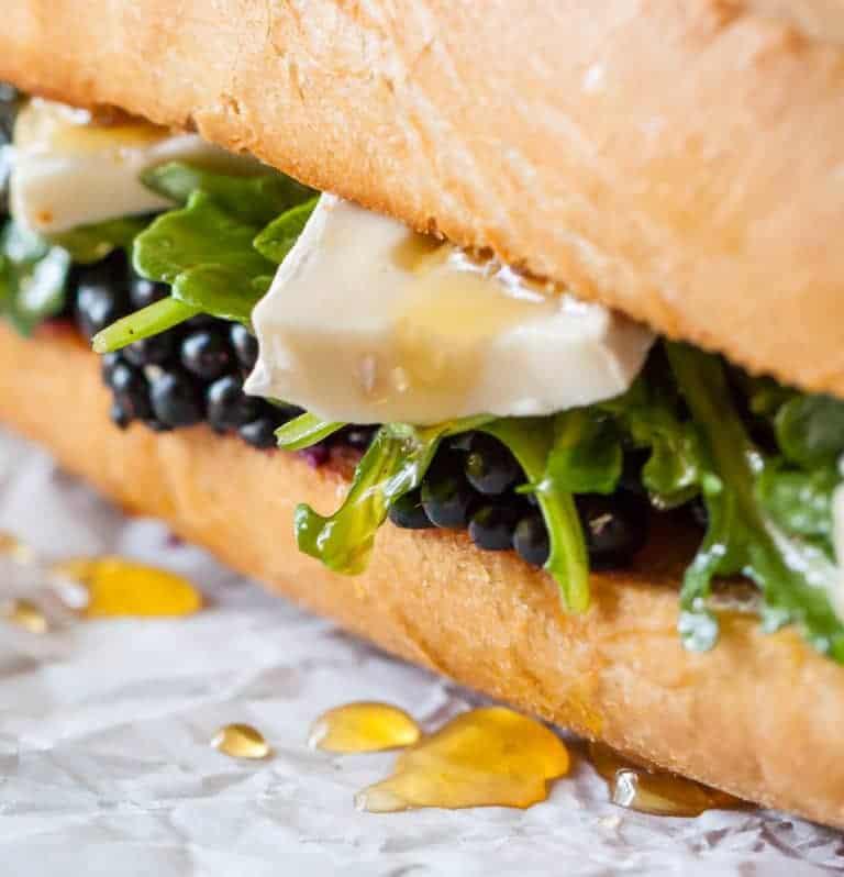 Close up of blackberry brie sandwich