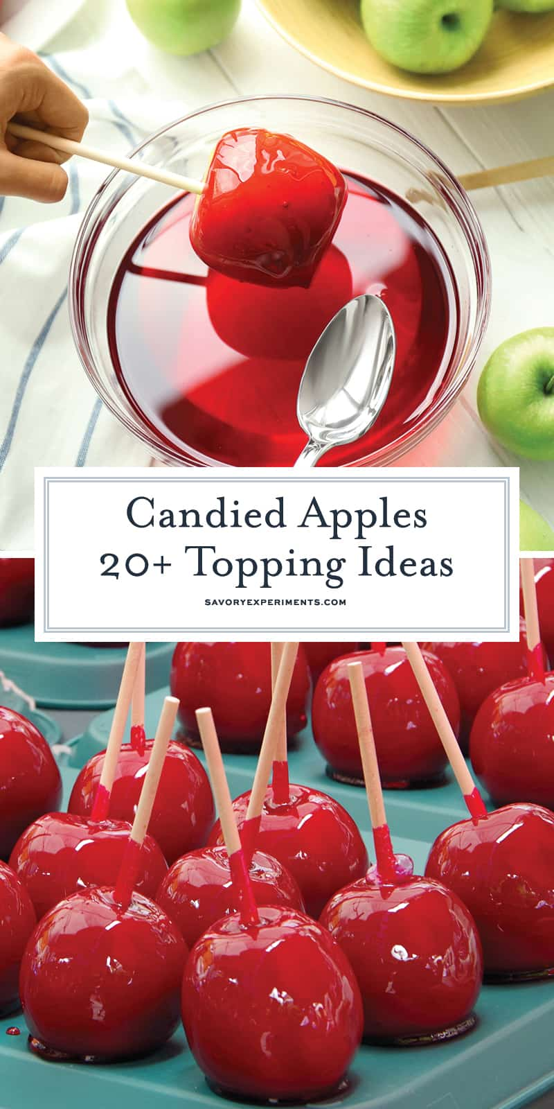 The classic candied apple is a beautifully colorful, glassy red apple. A lollipop candy coating with lush and slightly sour crunchy apple inside. #candiedapples www.savoryexperiments.com