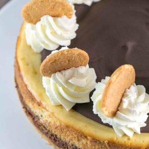 Close up of chocolate banana cheesecake