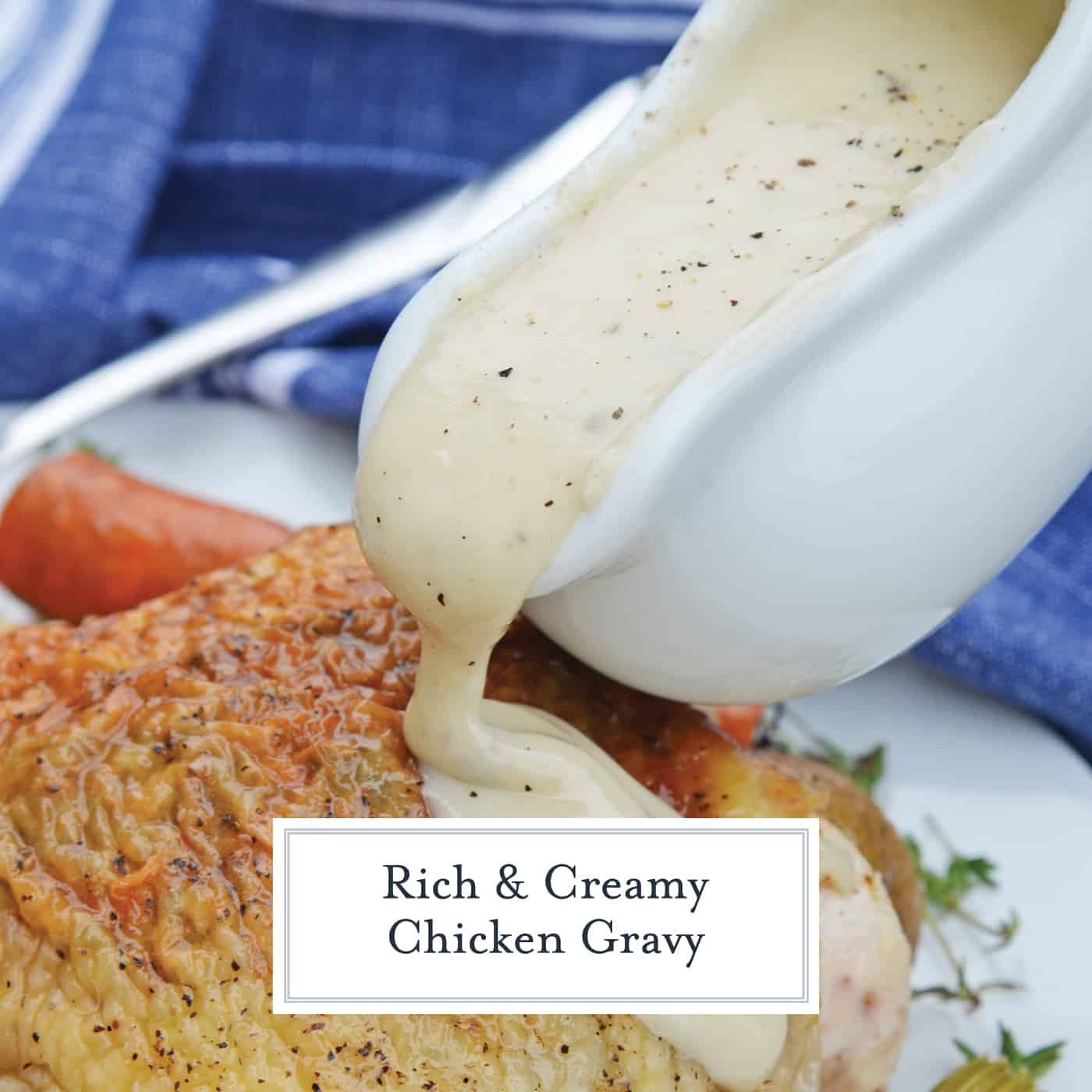 Easy Chicken Gravy made with chicken drippings is the best homemade chicken gravy recipe! It only takes 10 minutes and ingredients you already have in your pantry. #chickengravyrecipe #homemadechickengravy www.savoryexperiments.com