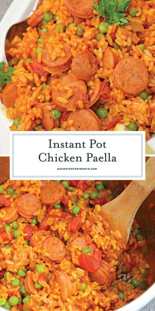 Instant Pot Chicken Paella is based off the traditional Spanish dish. Flavorful & ready in just minutes, this will be your go-to chicken and rice recipe. #chickenpaella #instantpotchickenrecipes #chickenandricerecipe www.savoryexperiments.com