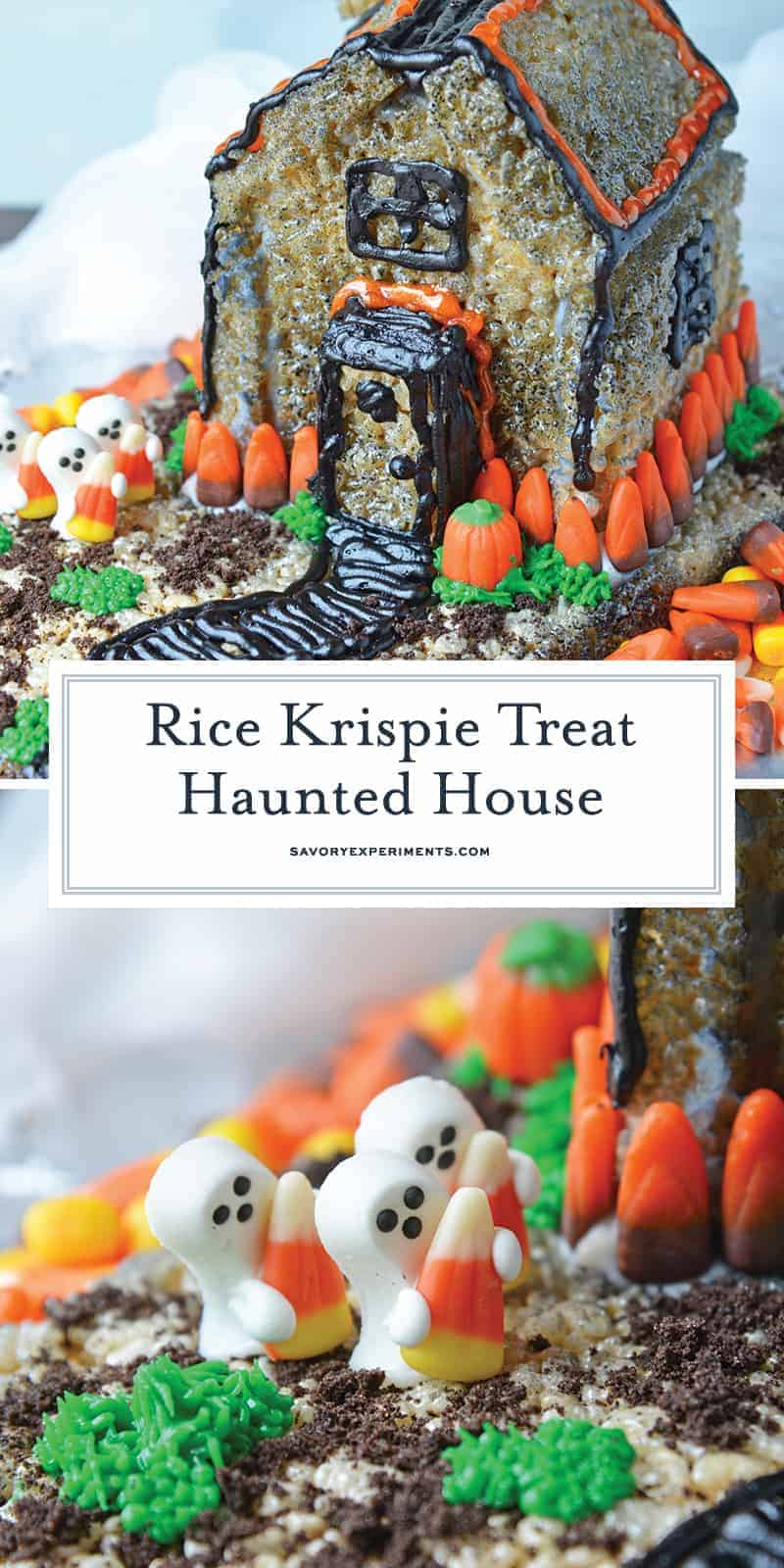 With this Rice Krispie Treat house template, you can make an adorable haunted house to display and then eat. Similar to a gingerbread house, this is part Halloween craft and party Halloween dessert. Fun and easy! #hauntedhouse #halloweendesserts www.savoryexperiments.com