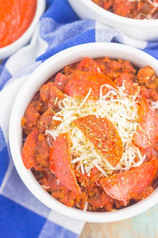 Pizza chili in a white bowl