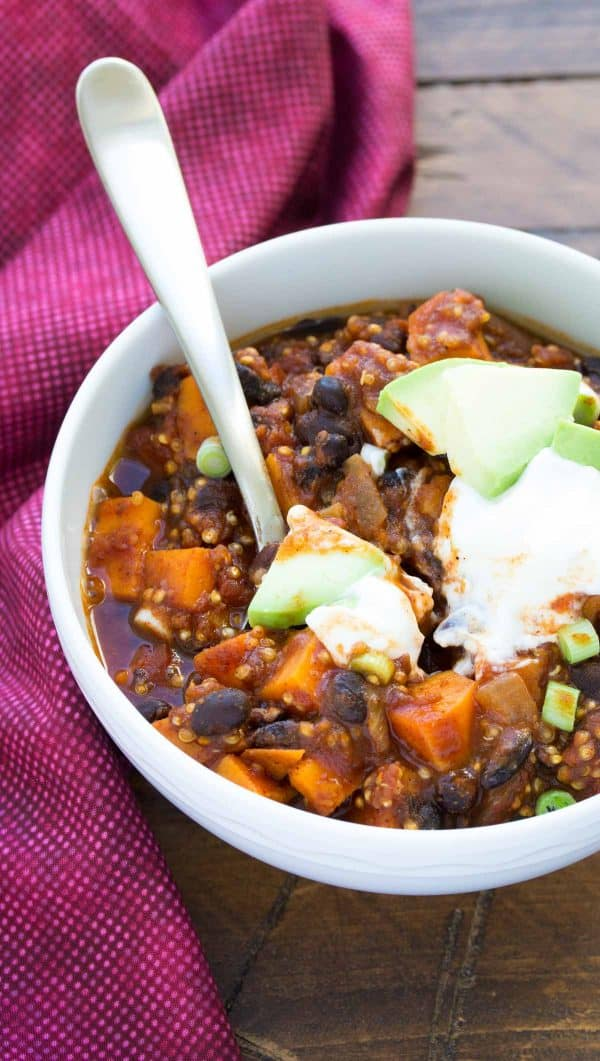 Sweet potato chili in a white bowl