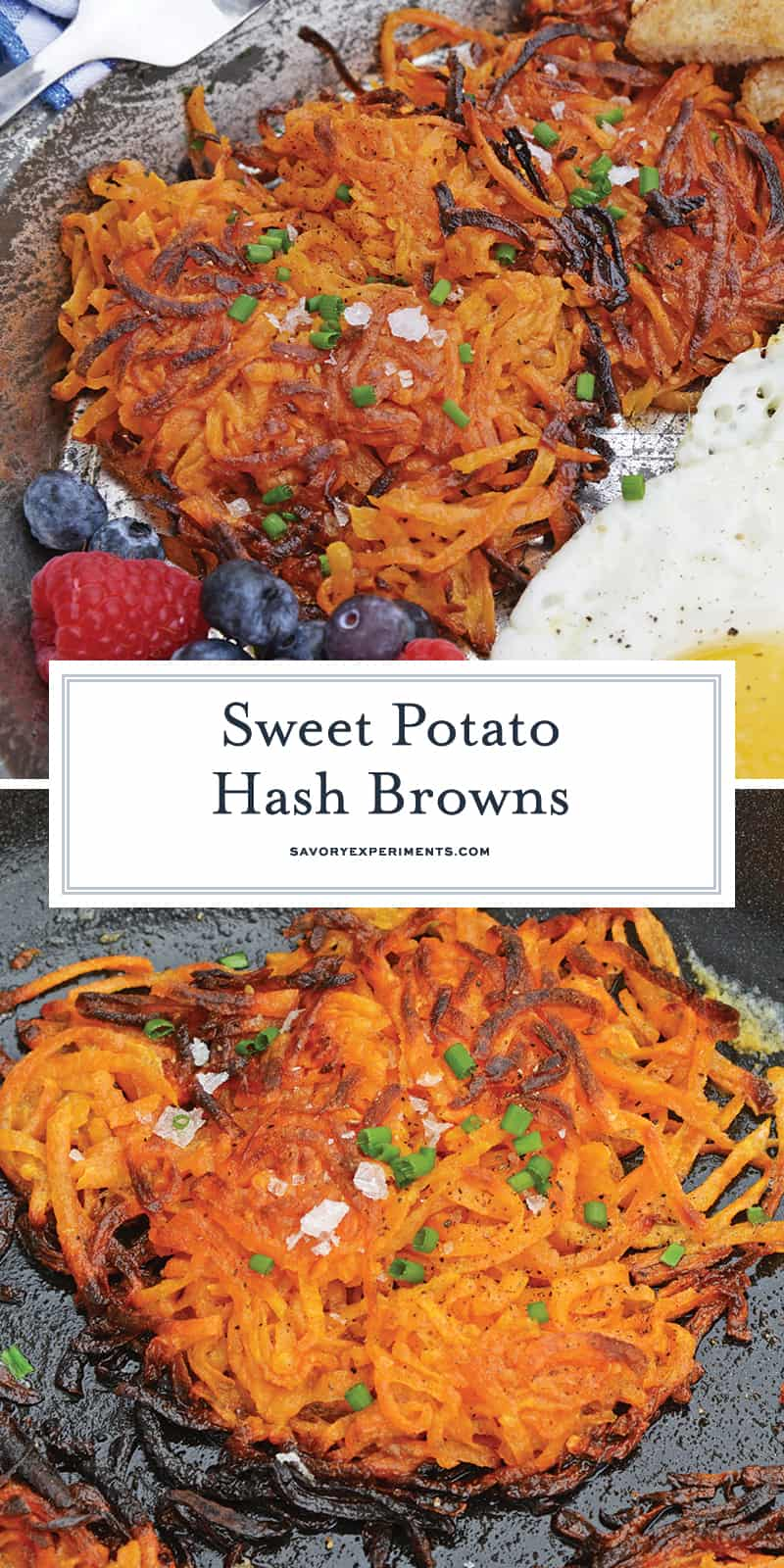 Sweet Potato Hash Browns are a simple breakfast recipe made with shredded sweet potatoes. Only 3 ingredients and a few minutes to cook! #sweetpotatohashbrowns #shreddedsweetpotatoes www.savoryexperiments.com