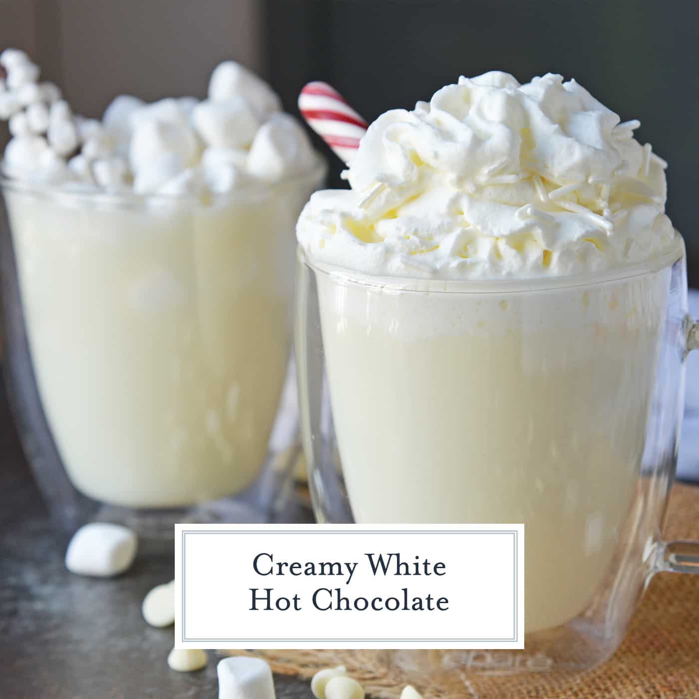 Homemade White Hot Chocolate is the perfect drink for warming up on cold days. White chocolate hot chocolate is delicious, quick and easy to make! #whitehotchocolaterecipe #whitehotcocoa www.savoryexperiments.com
