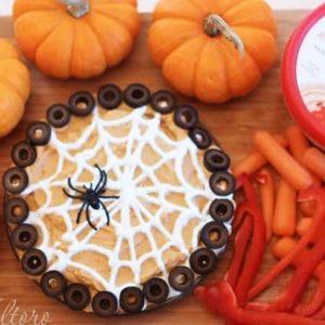 Snacks for Halloween with hummus and veggies