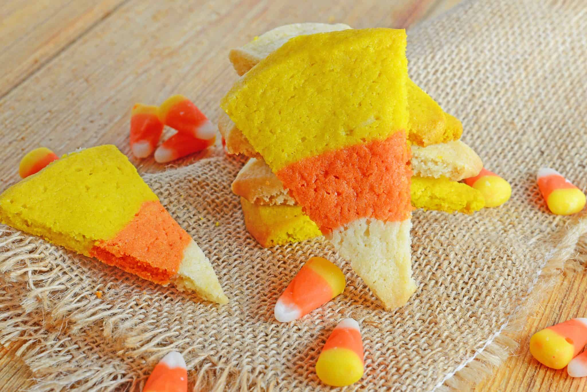 Candy corn sugar cookies on burlap