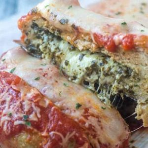Chicken parmesan meatloaf cut in half