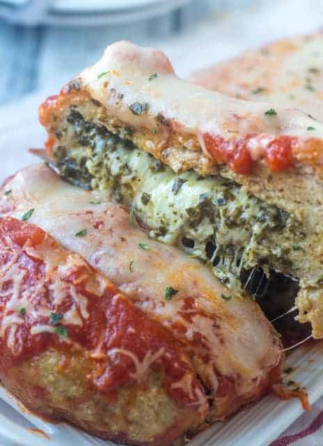 Chicken parmesan meatloaf cut in half
