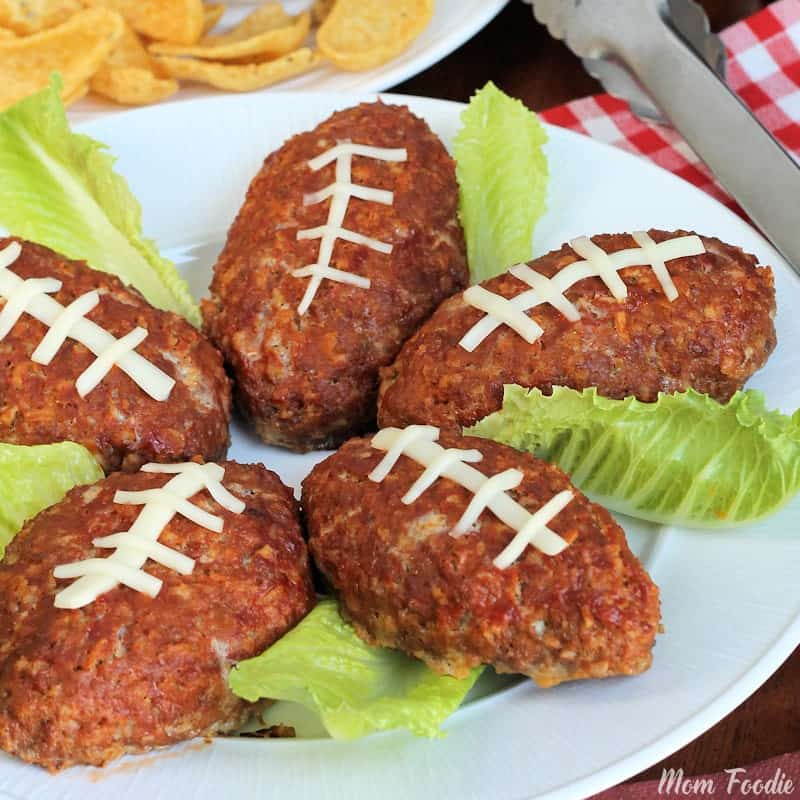 Five mini football meatloaf with lettuce