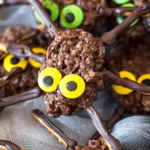 Rice krispie treat spider with yellow eyes
