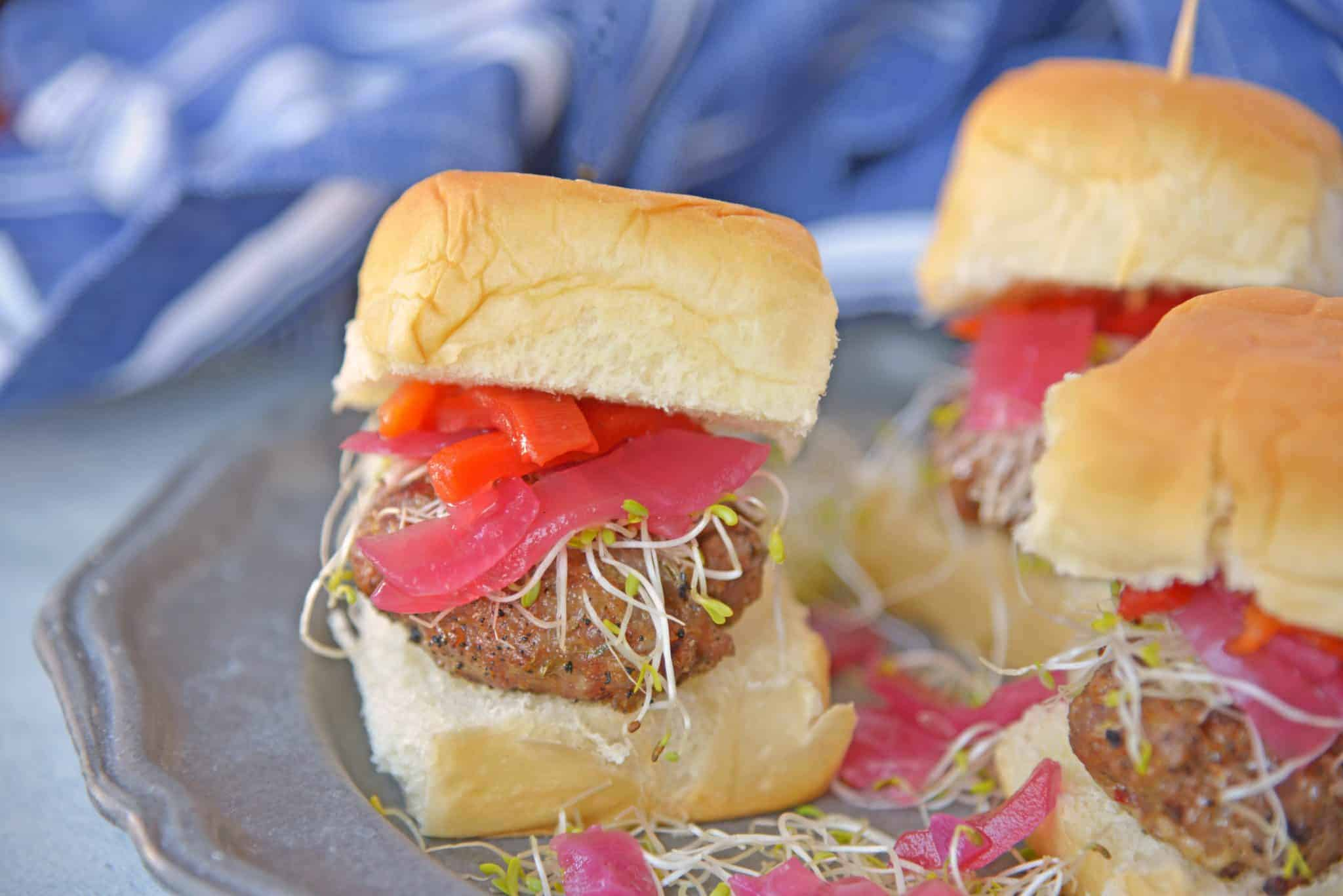 Italian sausage sliders on a silver plate