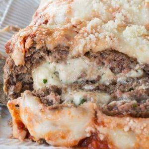 Lasagna stuffed meatloaf on a plate