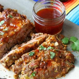 Mexican meatloaf sliced on a plate