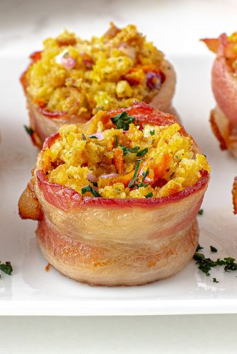 stuffing muffins on a serving plate