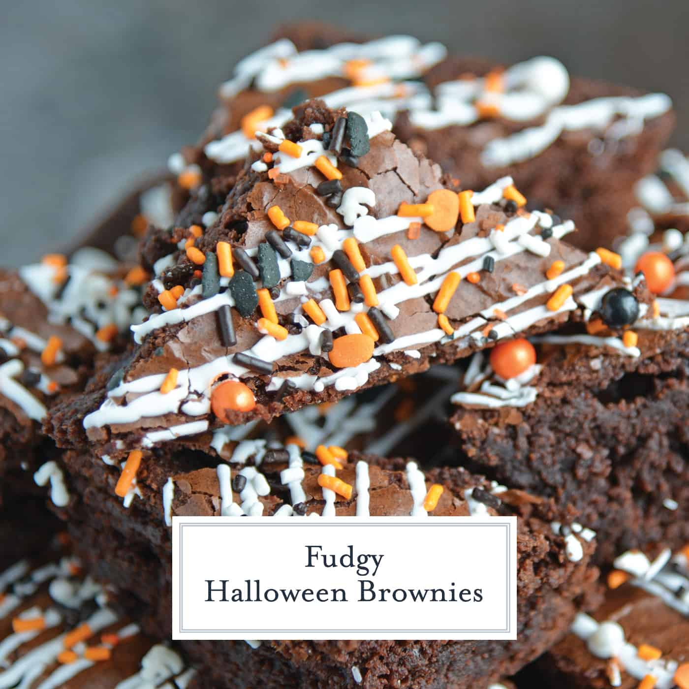 Halloween Brownies are a quick and easy Halloween themed dessert made with box brownie mix, cookie icing and sprinkles. An easy Halloween dessert! #halloweenbrownies #halloweenthemeddesserts #browniemix www.savoryexperiments.com