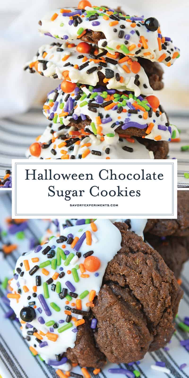 Halloween Chocolate Sugar Cookies combine soft sugar cookies with a delicious chocolate flavor, cookie icing and sprinkles for an easy Halloween dessert! #halloweencookies #chocolatesugarcookies #halloweendesserts www.savoryexperiments.com