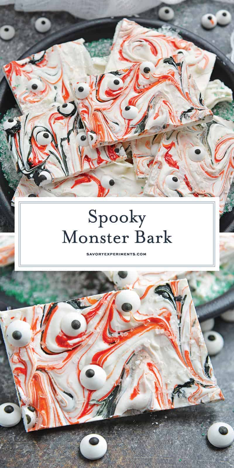 Monster Bark is a quick and easy Halloween treat made with candy eyeballs. Always a hit with kids, it's the perfect Halloween dessert for any party! #monsterbark #howtomakechocolatebark #candyeyeballs www.savoryexperiments.com