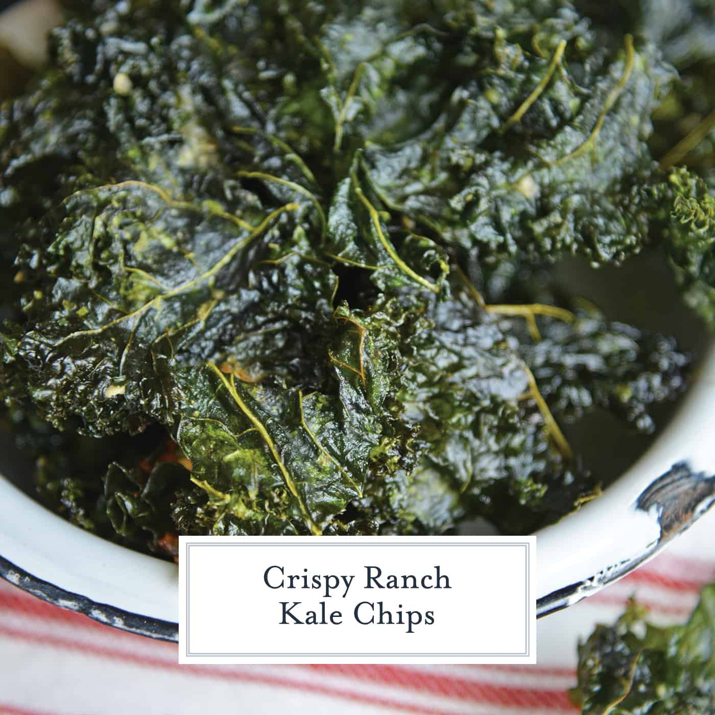 Ranch Kale Chips are a quick and easy 3 ingredient kale chips recipe that offer a tasty and healthy alternative to other chips and snacks. #ranchkalechips #kalechipsrecipe www.savoryexperiments.com