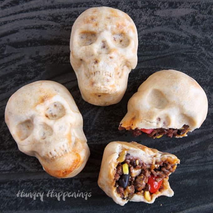 Halloween burrito skulls