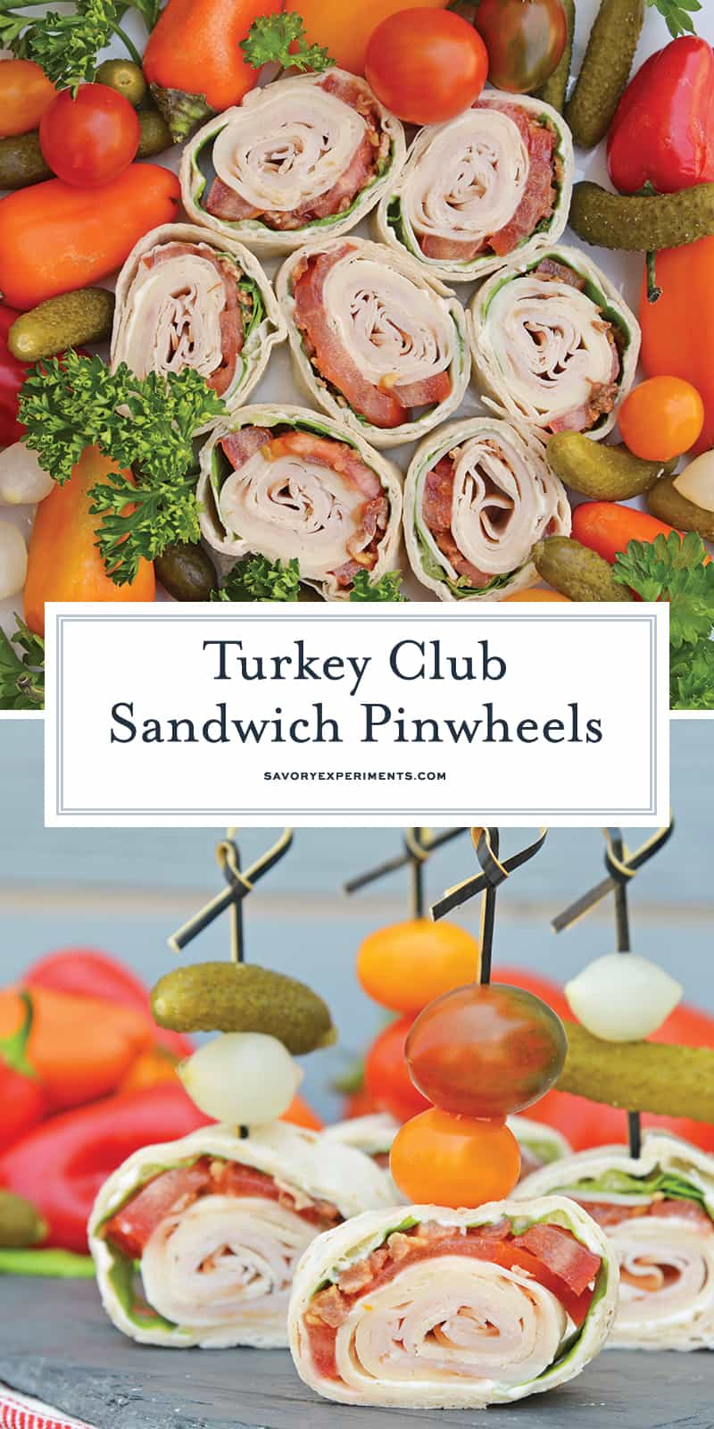 Turkey Club Sandwich Pinwheels use the traditional club sandwich ingredients, but wrap them in a tortilla. Easy to make, eat and clean up! #clubsandwichrecipe #turkeyclub #howtomakepinwheels www.savoryexperiments.com