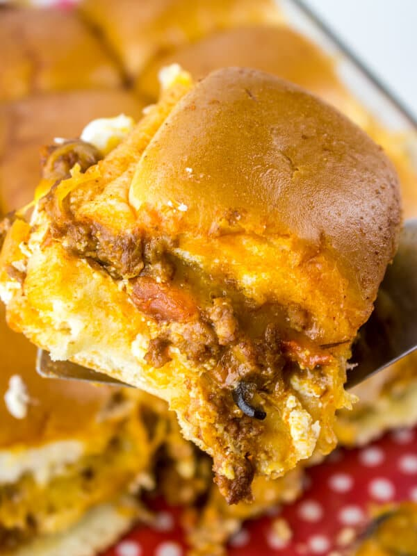 Cheesy taco sandwich slider recipes in a dish