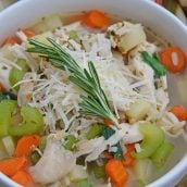 close up of chicken and rice soup