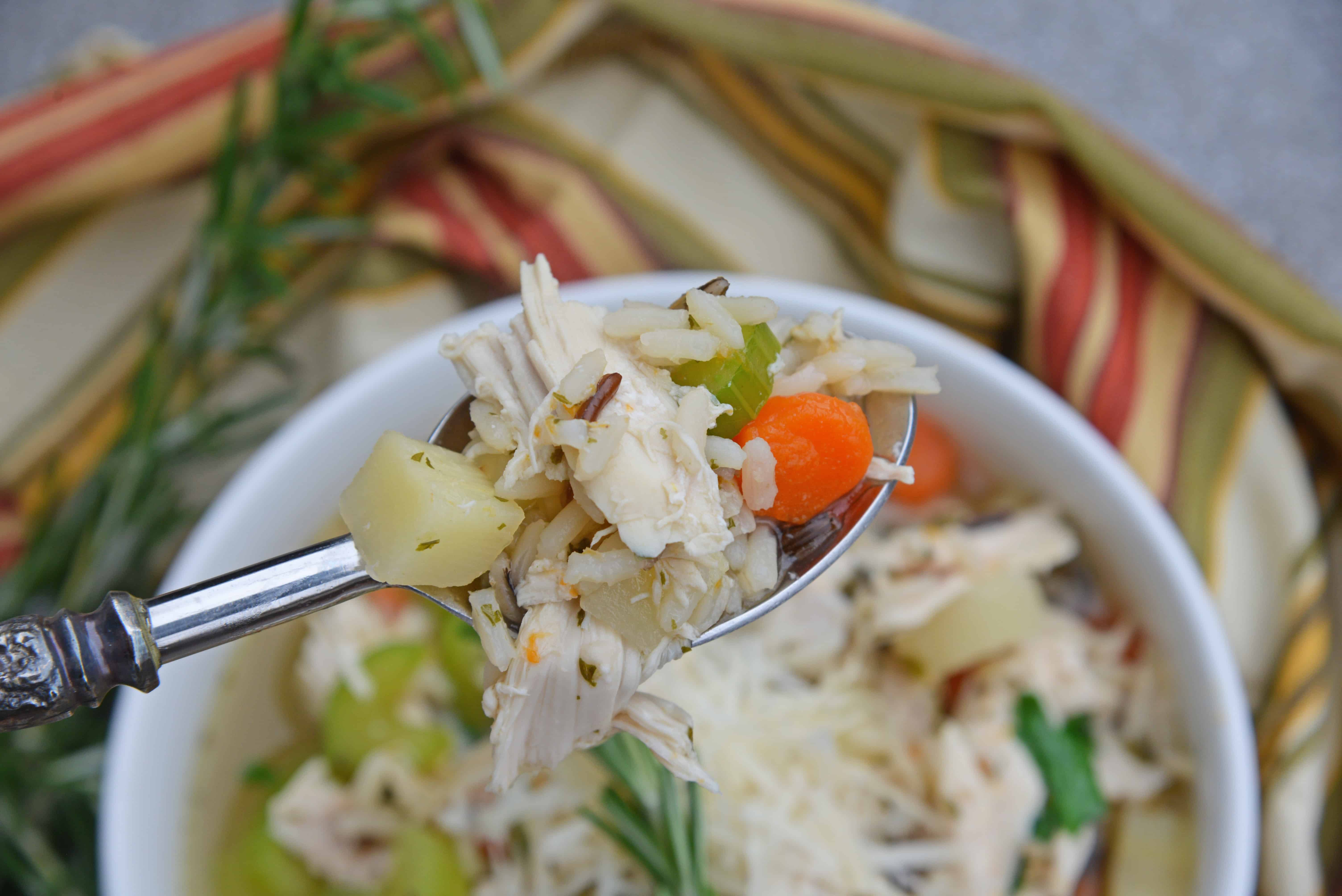 This 20-Minute Wild Rice Chicken Soup is an incredibly easy but flavorful 20 minute meal made with two kitchen hacks that will make your life so much easier! It'll become a winter soup staple in your home! #chickensoup #chickenwildricesoup www.savoryexperiments.com