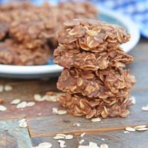 Stack of four classic no bake cookies