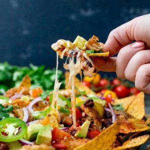 Leftover turkey recipes - turkey nacho with cheese pull