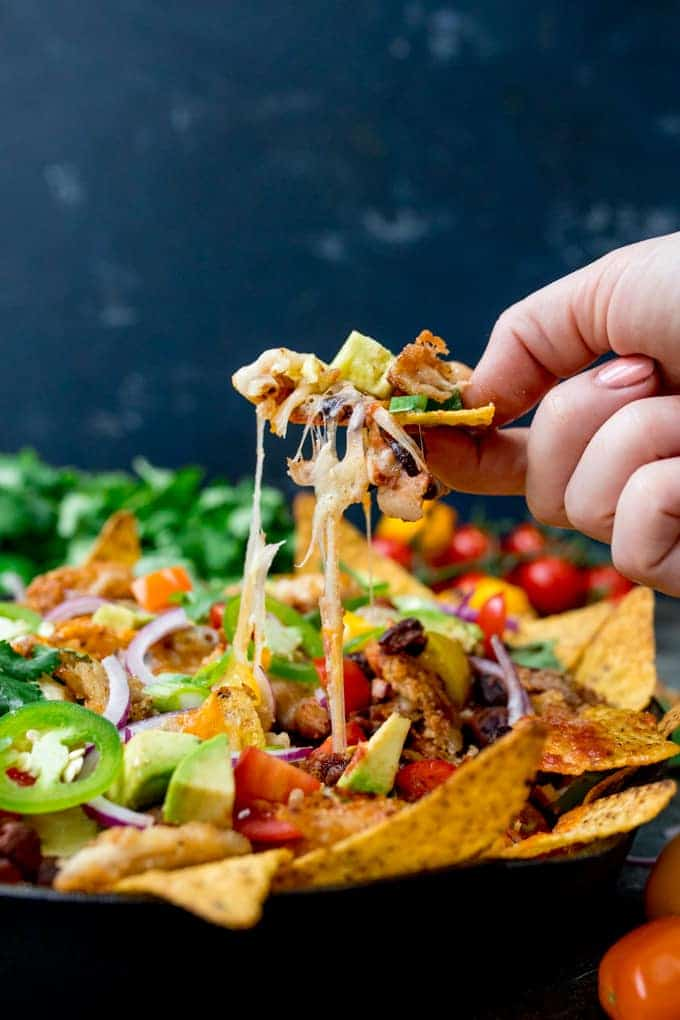 Leftover turkey recipes - turkey nacho with cheese pull