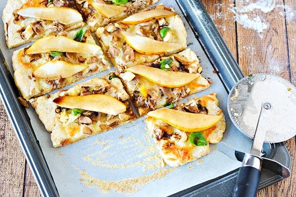 Turkey pear pizza cut into squares - leftover turkey recipes