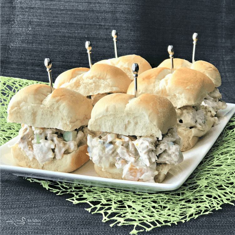Turkey salad sliders on a white plate, leftover turkey recipes