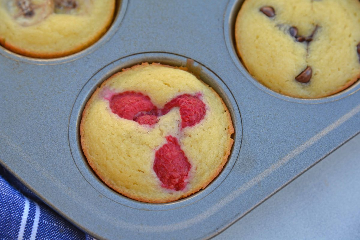Close up of raspberry Pancake Muffin in a pan