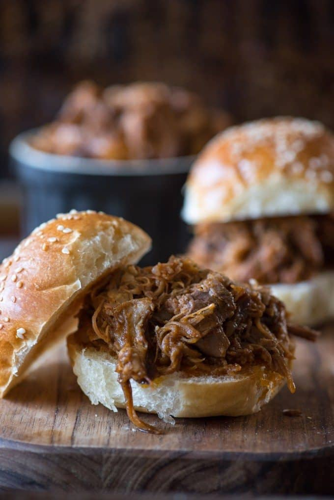 BBQ pork slider sandwich recipes on a cutting board