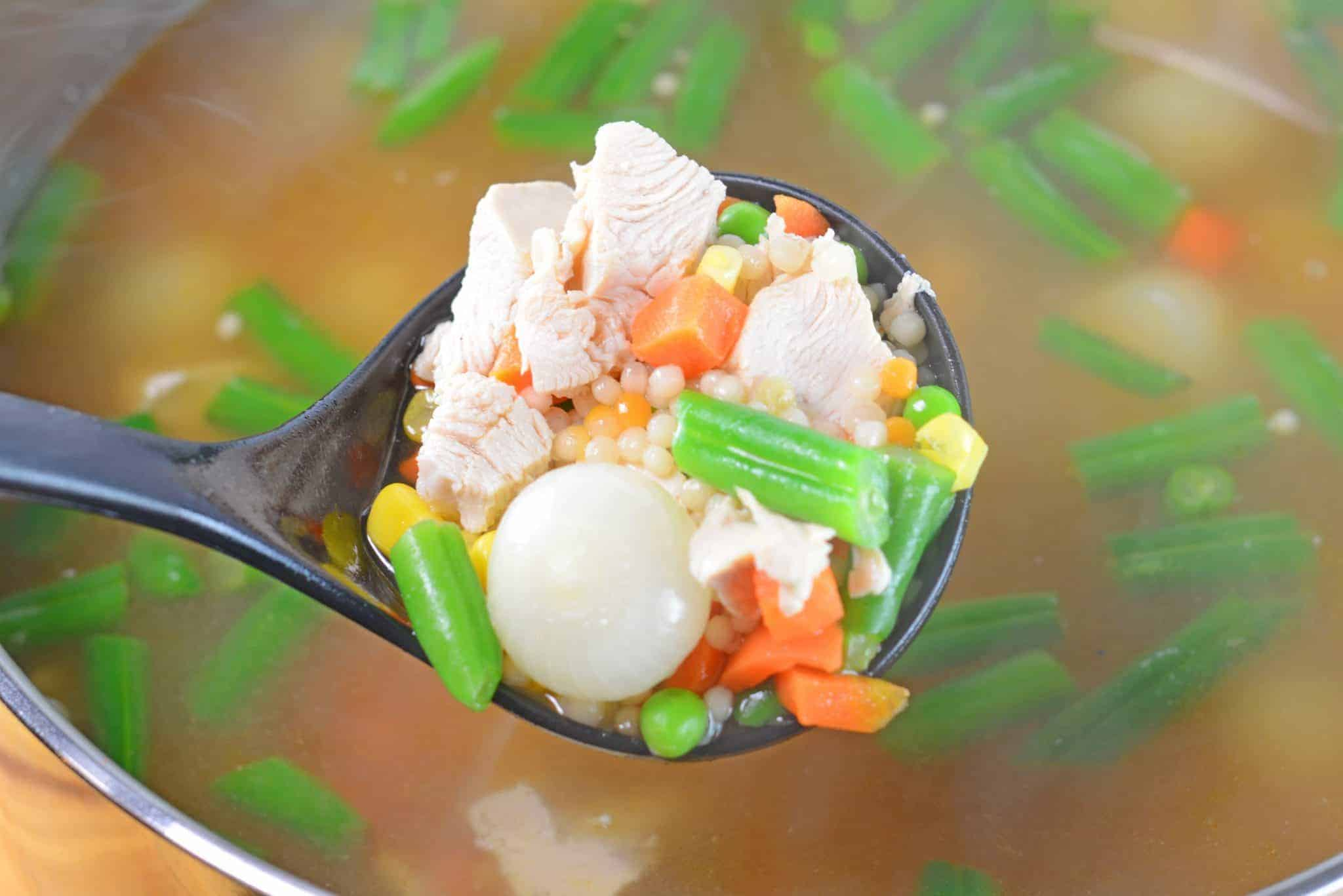 Turkey noodle soup in a ladle - leftover turkey recipes