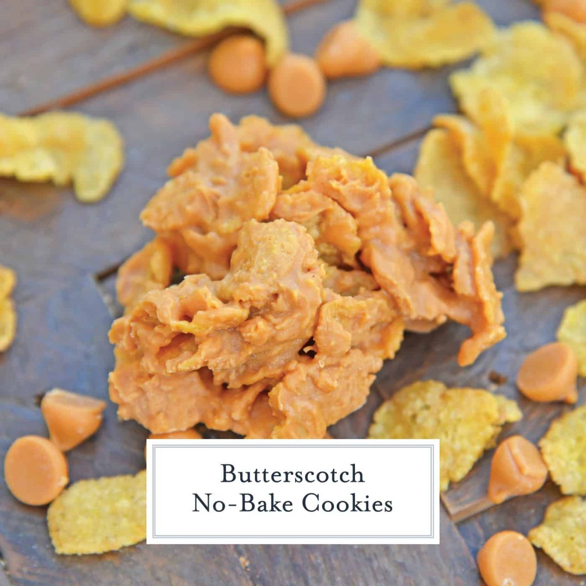 Butterscotch No-Bake Cookies are a simple 3 ingredient no bake cookie recipe. A quick and easy butterscotch cookie recipe everyone loves! #butterscotchcookies #nobakecookies www.savoryexperiments.com
