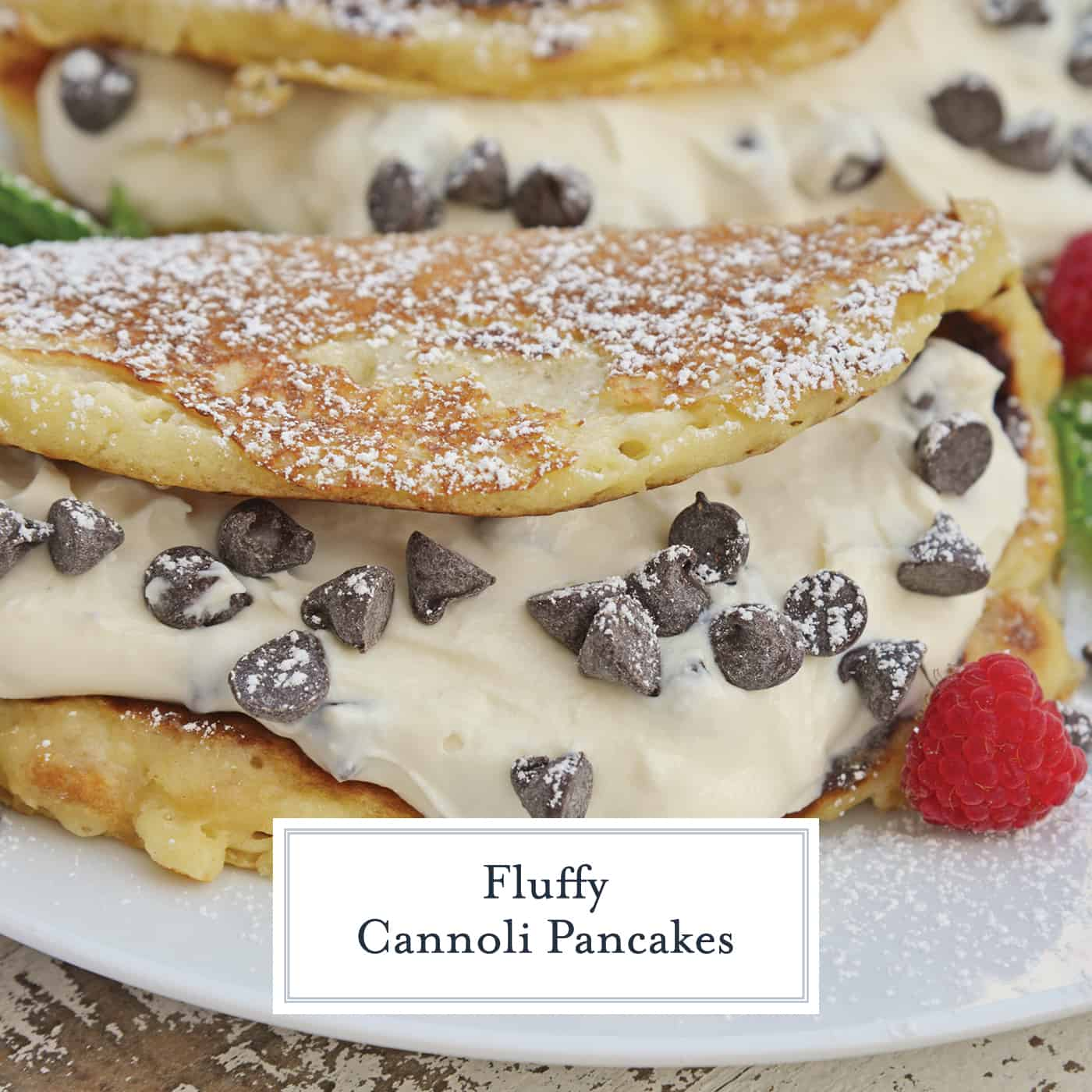 Cannoli Pancakes are stuffed with a rich, delicious cannoli filling. This breakfast cannoli is perfect for special breakfasts and brunches. #cannolipancakes #breakfastcannoli #cannolifilling www.savoryexperiments.com