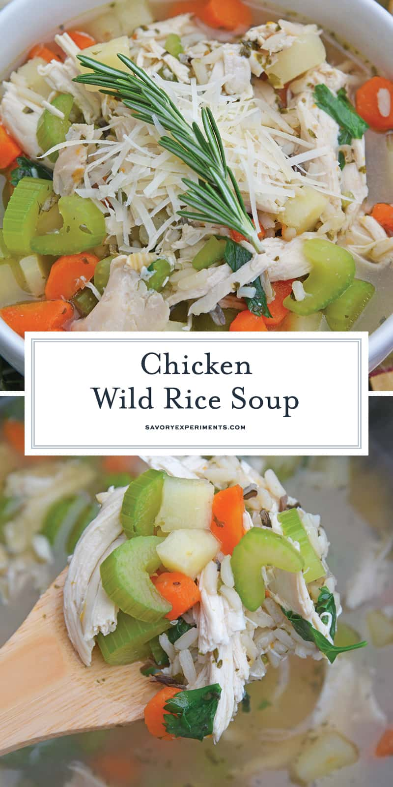 This 20-Minute Wild Rice Chicken Soup is an incrediblyeasy but flavorful 20 minute meal made with two kitchen hacks that will make your life so much easier! It'll become a winter soup staple in your home! #chickensoup #chickenwildricesoup www.savoryexperiments.com
