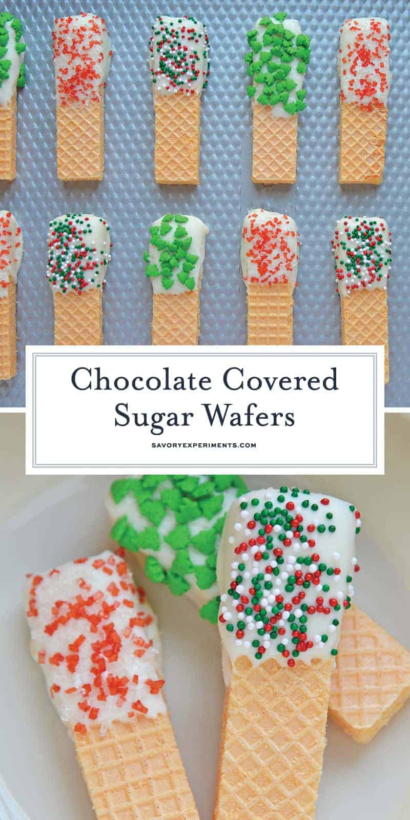 Chocolate Covered Sugar Wafers no bake cookies are quick, easy and festive Christmas cookies. Perfect for cookie trays and holiday parties. #nobakecookies #easychristmascookies #sugarwafercookies www.savoryexperiments.com