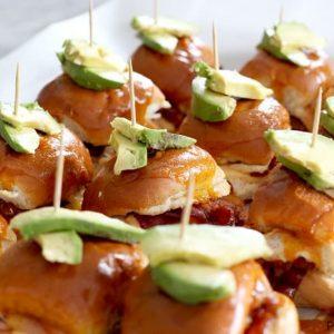 BBQ bacon turkey slider sandwich recipes topped with avocado