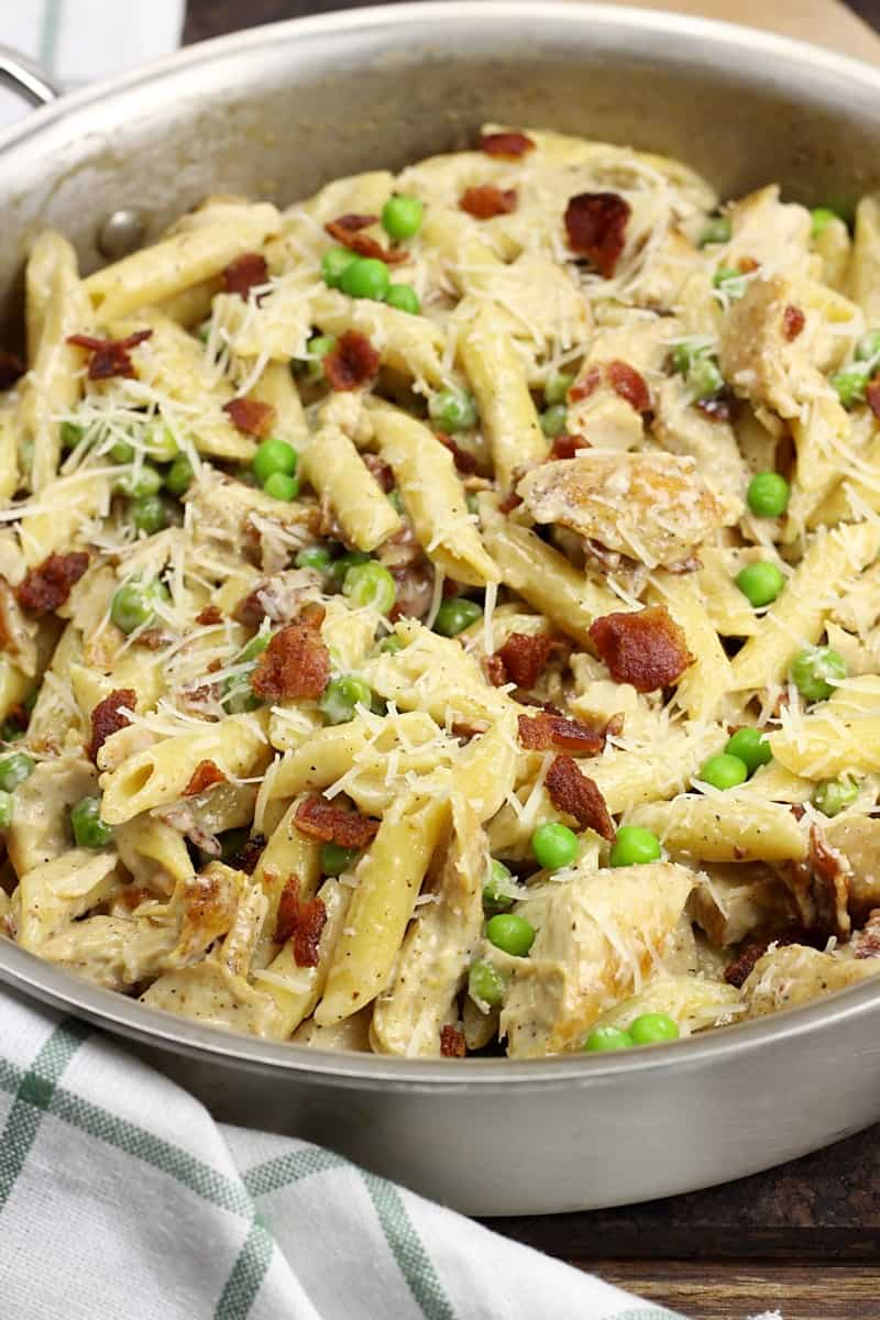 Turkey bacon alfredo in a pan - leftover turkey recipes