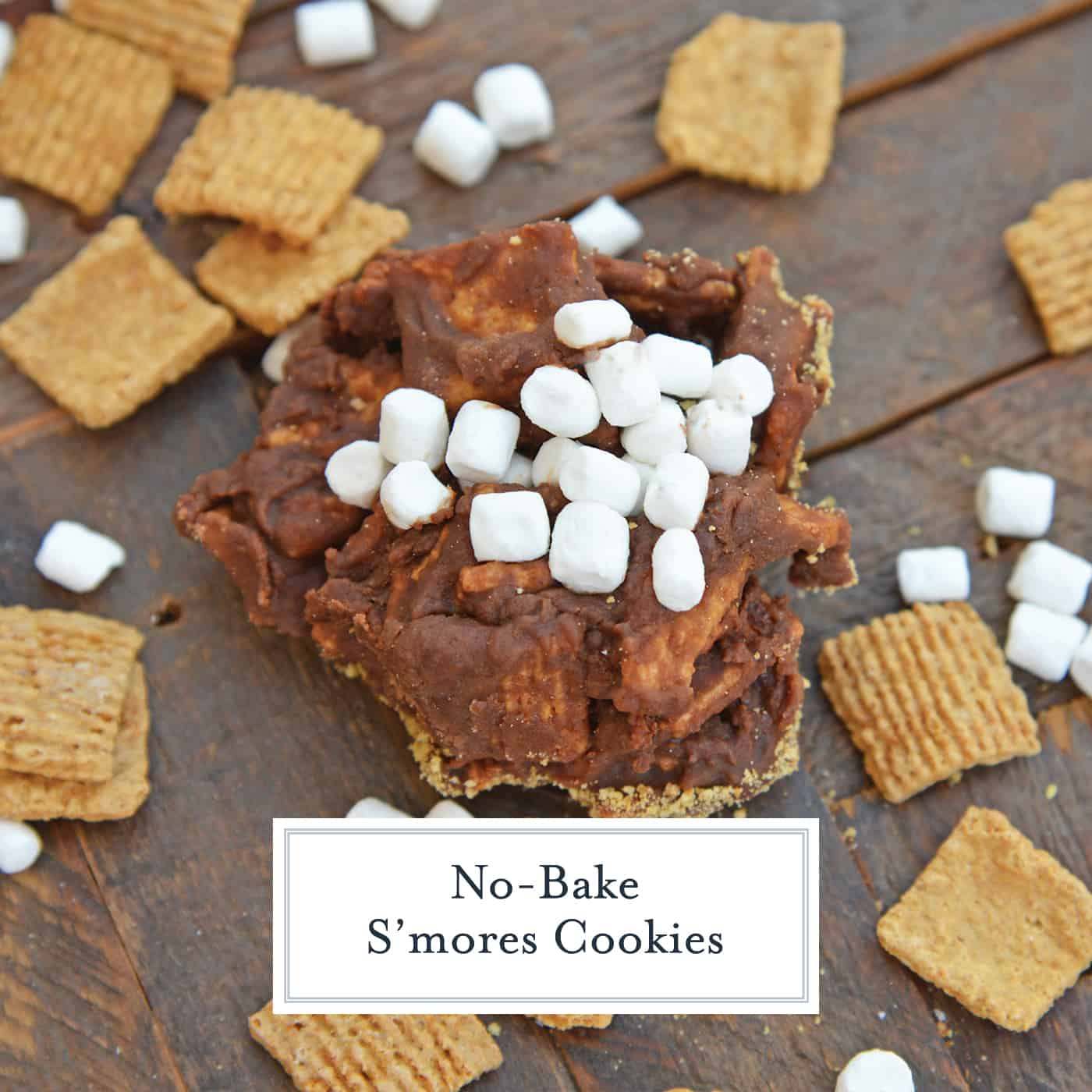 No Bake S'mores Cookies are an easy s'mores recipe made with Golden Grahams and marshmallows. Your favorite s'mores flavor without the bonfire! #smorescookies #nobakecookies #smoresrecipe www.savoryexperiments.com